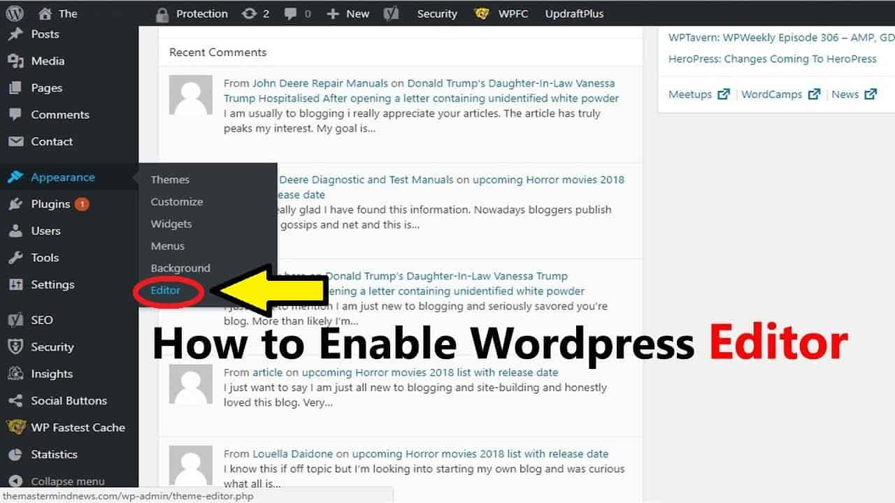 editor option is missing in wordpress